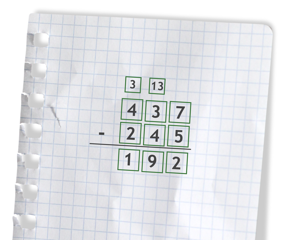Przykład: 437 - 245 =192. Rozwiązanie zadania podpunkt a.