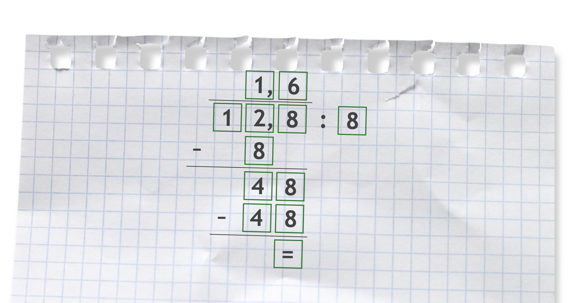 Przykład dzielenia pisemnego: 12,8 dzielone przez 8 =1,6.