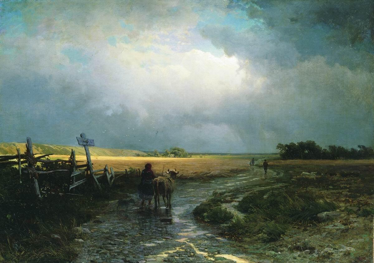 Po deszczu. Wiejska droga Źródło: Fiodor Wasiliew, Po deszczu. Wiejska droga, olej na płótnie, domena publiczna.