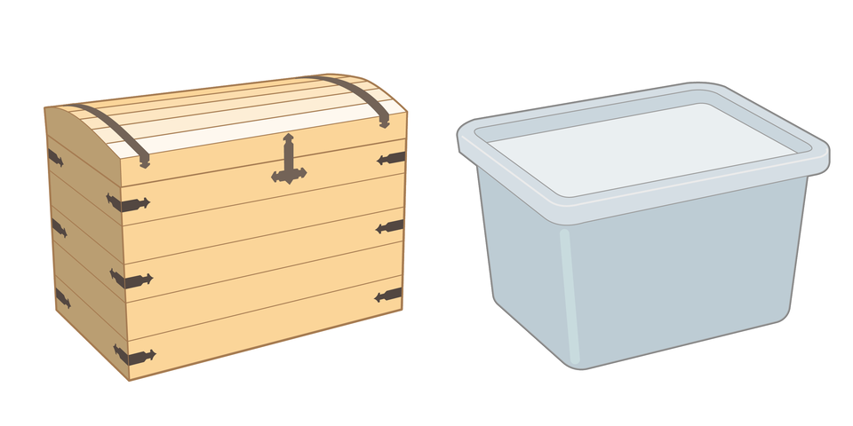 Na ilustracji są dwie skrzynie. Pierwsza wykonana jest zdrewna, adruga zplastiku.