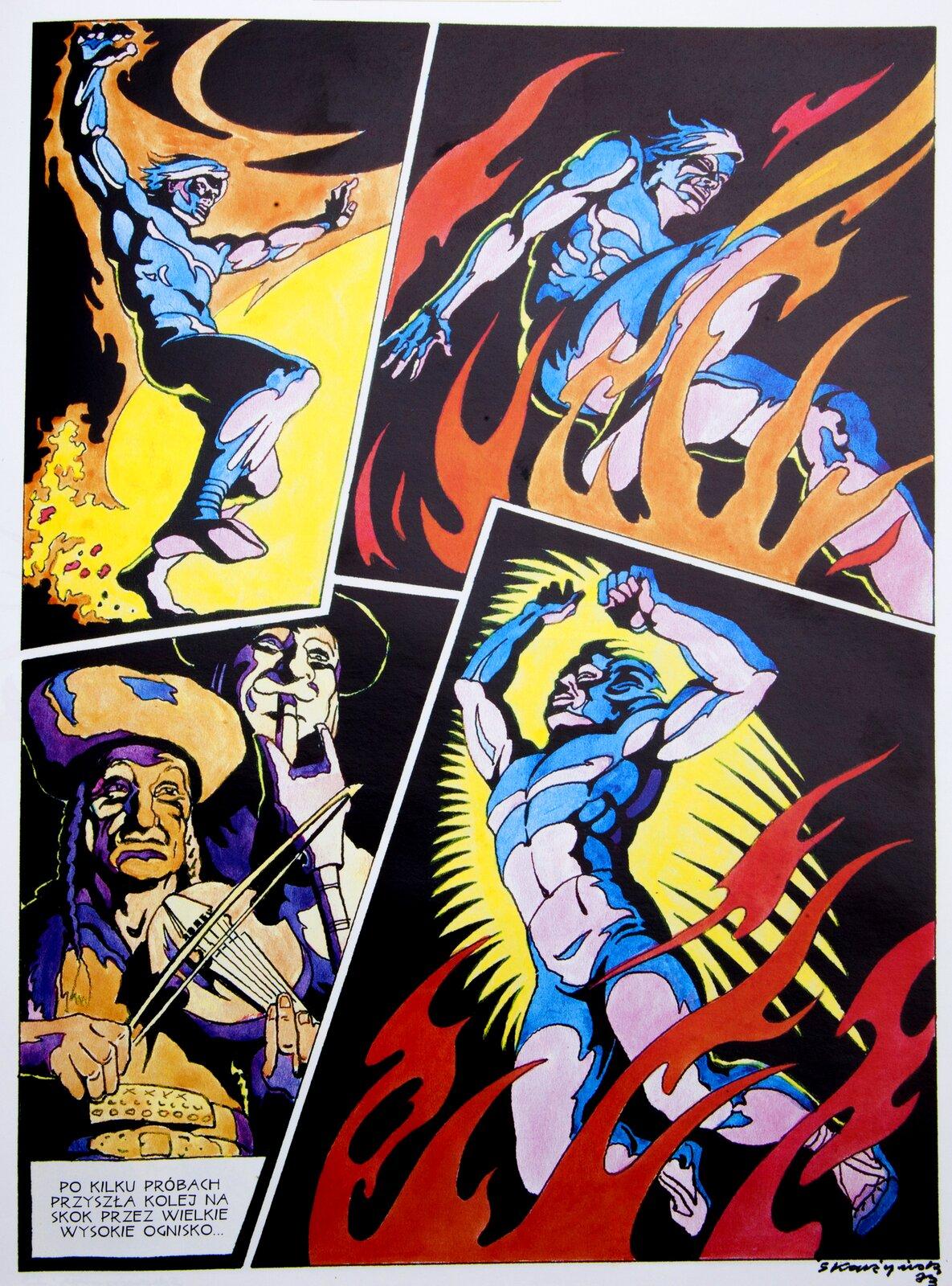 Ilustacja przestawia stronę zkomiksu, na której widzimy postać meżczny skaczącego przez ognisko, awdolnym lewym rogu grajków grających na skrzypcach.