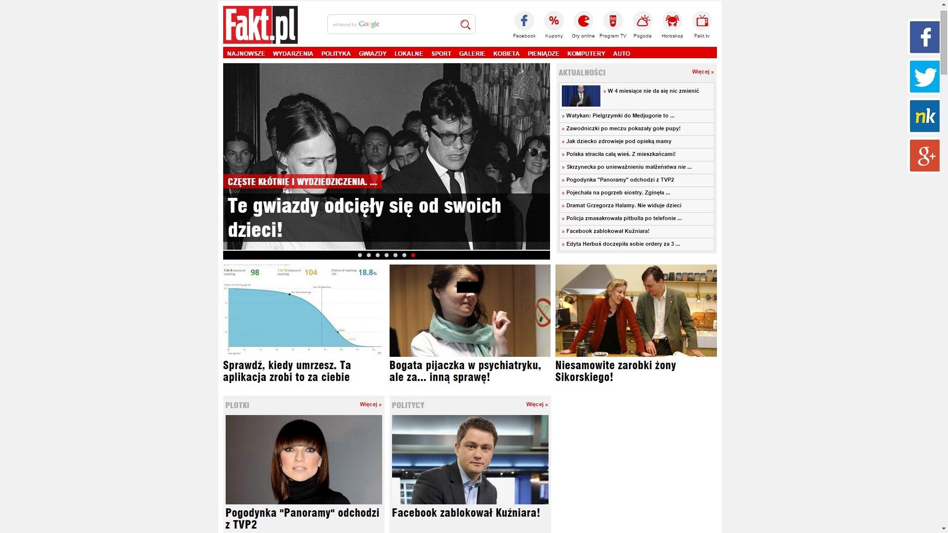 Zrzut ekranu ze strony www.fakt.pl