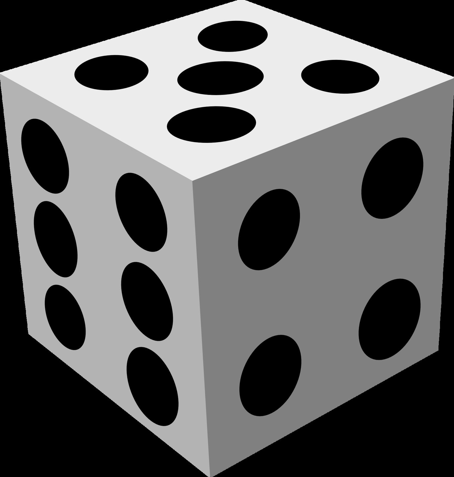 Ilustracja wektorowa przedstawiająca kostkę do gry, na której widoczne są: 6 oczek, 4 oczka i2 oczka.