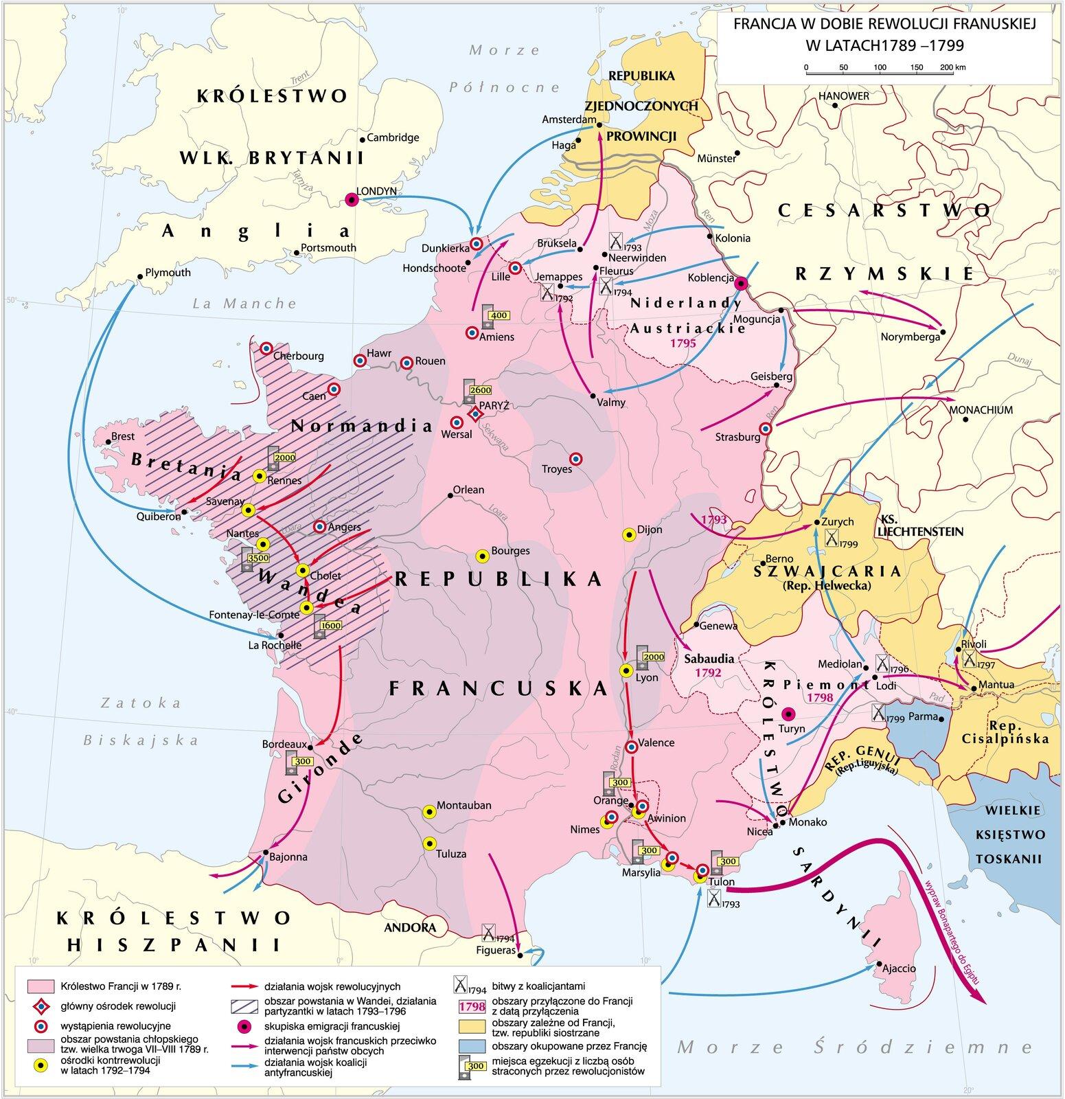 Mapa Europy, wjej centrum Francja. Ma mapie zaznaczone są działania zbrojne podejmowane wczasie rewolucji francuskiej wlatach 1789-1799.