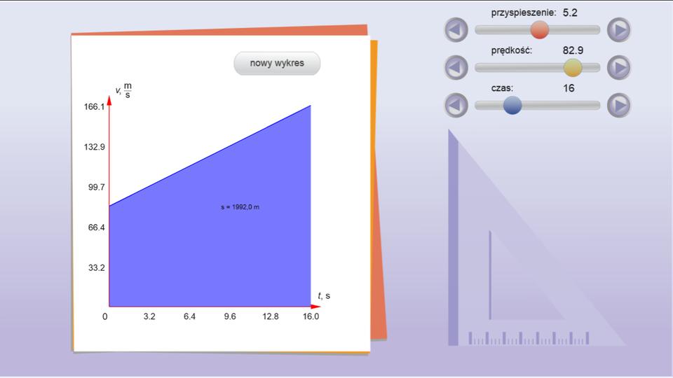 """Aplikacja przedstawia symulator wykresów. Tło jasnoniebieskie. Zlewej strony układ współrzędnych na białym tle. Oś odciętych opisana jako """"t, s"""". Oś rzędnych opisana jako """"v, m/s"""". Zprawej strony, od góry, trzy suwaki. Pierwszy – przyspieszenie. Drugi – prędkość. Trzeci – czas. Wartość przyspieszenia można ustawić od 0,0 do 10,0. Wartość prędkości od 0,0 do 100,0. Czas od 0 do 60. Użytkownik za pomocą kursora myszy ustawia wybrane przez siebie wartości. Na dole wyświetlany jest przycisk """"narysuj wykres v(t)"""". Po kliknięciu na przycisk, po lewej stronie wyświetlany jest wykres. Nad wykresem znajdują się dwa przyciski: """"nowy wykres"""" oraz """"oblicz drogę"""". Po kliknięciu drugiego przycisku, na wykresie zaznaczone jest pole oznaczające drogę praz wyświetlona jest jej wartość."""