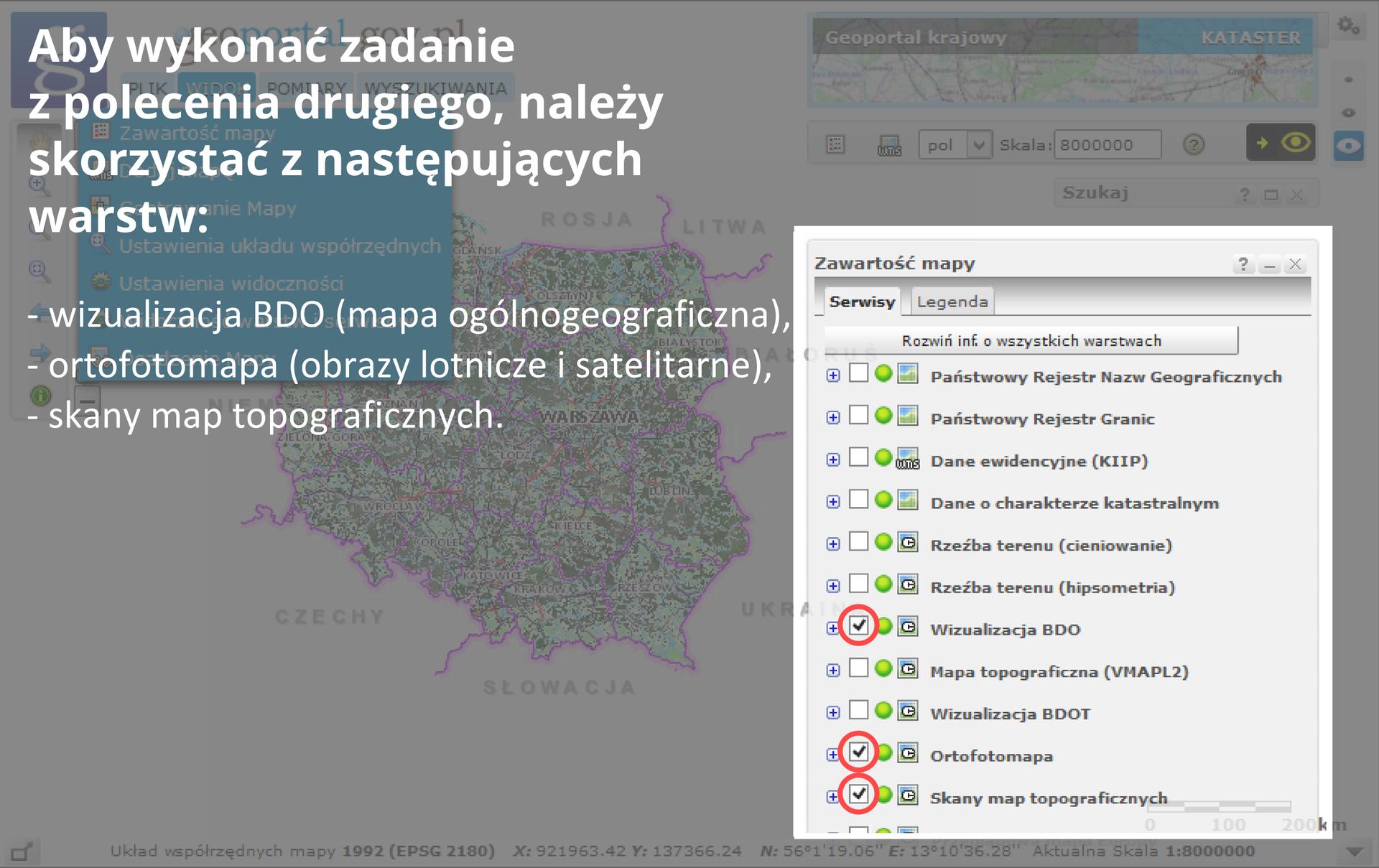 Trezcia ztrzech ilustracji pokazująca sposób korzystania zaplikacji internetowej Geoportal.