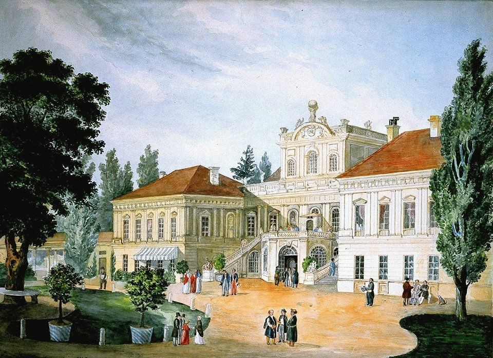 Rezydencja Czartoryskich wPuławach Źródło: Konstanty Czartoryski, Rezydencja Czartoryskich wPuławach, 1842, Akwarela, domena publiczna.