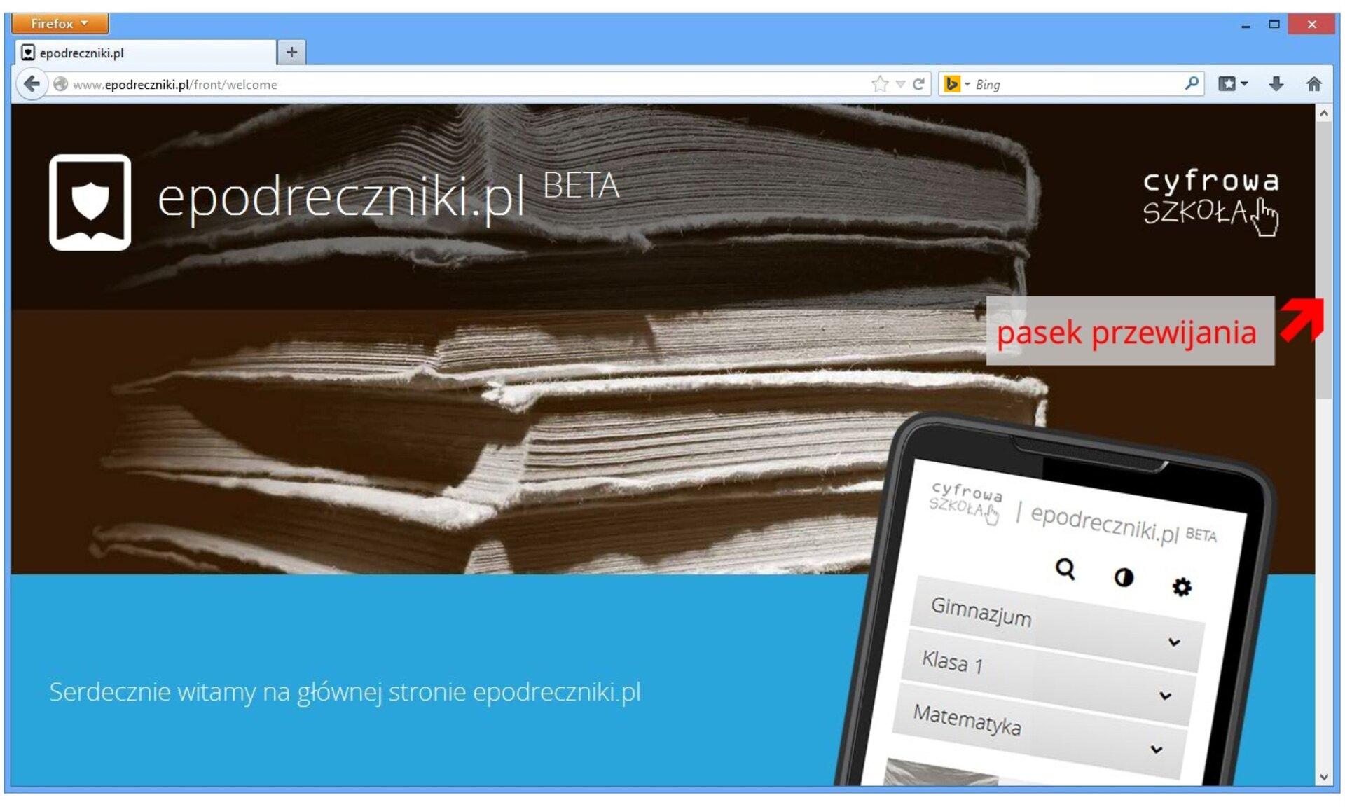 Zrzut przykładowej strony startowej przeglądarki