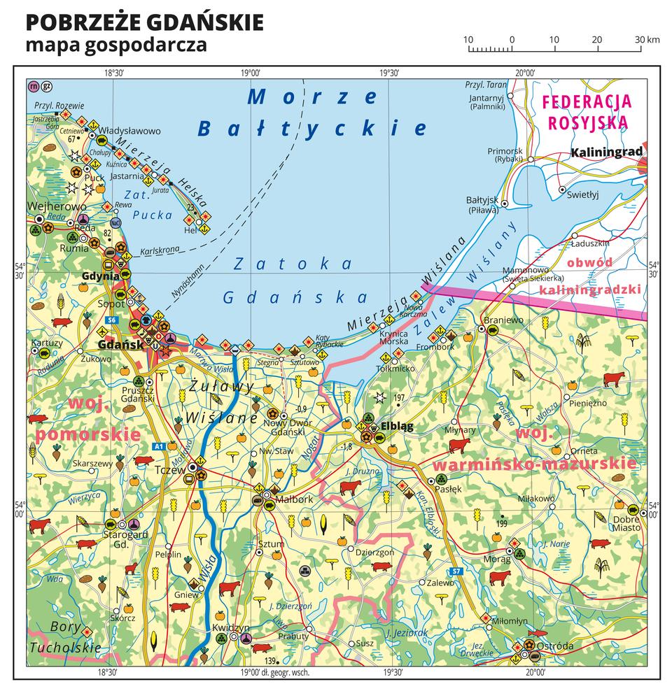 Ilustracja przedstawia mapę gospodarczą Pobrzeża Gdańskiego. Tło mapy wkolorze żółtym (grunty orne), jasnozielonym (łąki ipastwiska) izielonym (lasy). Na mapie sygnatury obrazujące uprawy poszczególnych roślin, hodowlę zwierząt, przemysł, górnictwo ienergetykę, komunikację, turystykę, naukę, kulturę isztukę. Na północy Morze Bałtyckie, Zatoka Pucka, Zatoka Gdańska iZalew Wiślany. Mapa obejmuje tereny od Przylądka Rozewie na zachodzie po Dobre Miasto na wschodzie, na południu sięgając Kwidzyna iOstródy. Miejscowości nadmorskie oznaczone sygnaturą turystyki wypoczynkowej, niektóre symbolem portu. Największe zagęszczenie sygnatur wGdyni iGdańsku, duże zagęszczenie sygnatur wElblągu, Tczewie iMalborku. Na mapie przedstawiono sieć dróg ikolei, porty wodne ilotnicze, granice województw, granicę państwa. Opisano województwa pomorskie iwarmińsko-mazurskie, Federację Rosyjską iobwód kaliningradzki. Opisano Żuławy Wiślane iBory Tucholskie. Mapa zawiera południki irównoleżniki, dookoła mapy wbiałej ramce opisano współrzędne geograficzne co trzydzieści minut.