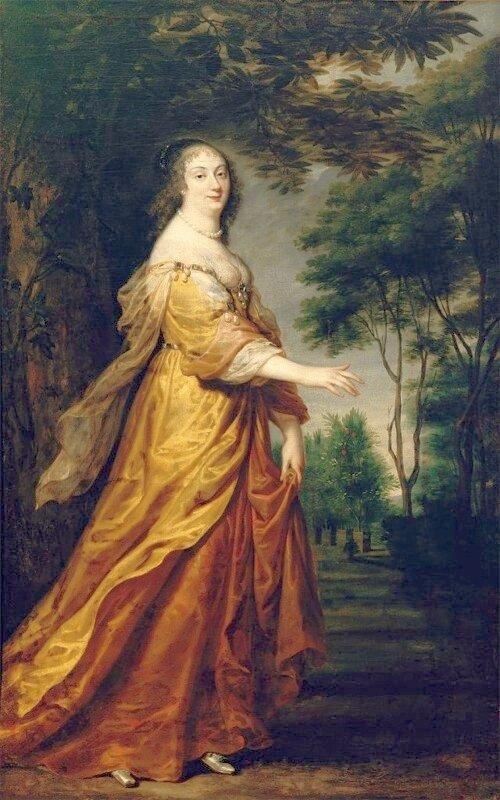 """na portrecie przedstawiona zostałaMaria Ludwika Gonzaga de Nevers, tu ukazanajako """"idealna piękność"""", nimfa przechadzająca się po gaju pomarańczowym wArkadii (krainie wiecznego szczęścia ibeztroski)."""