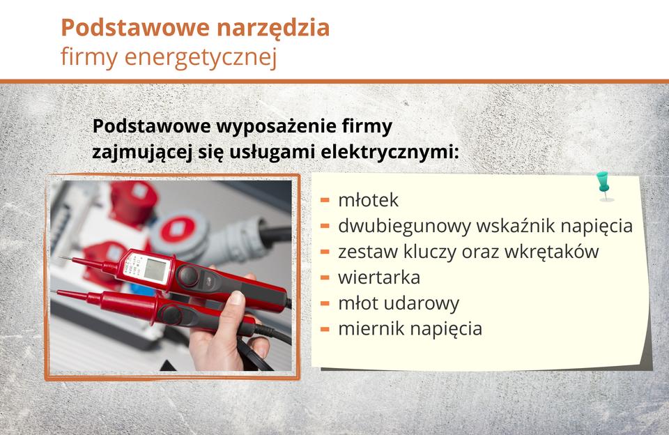 Grafika przedstawia elementy wyposażenia firmy energetycznej.