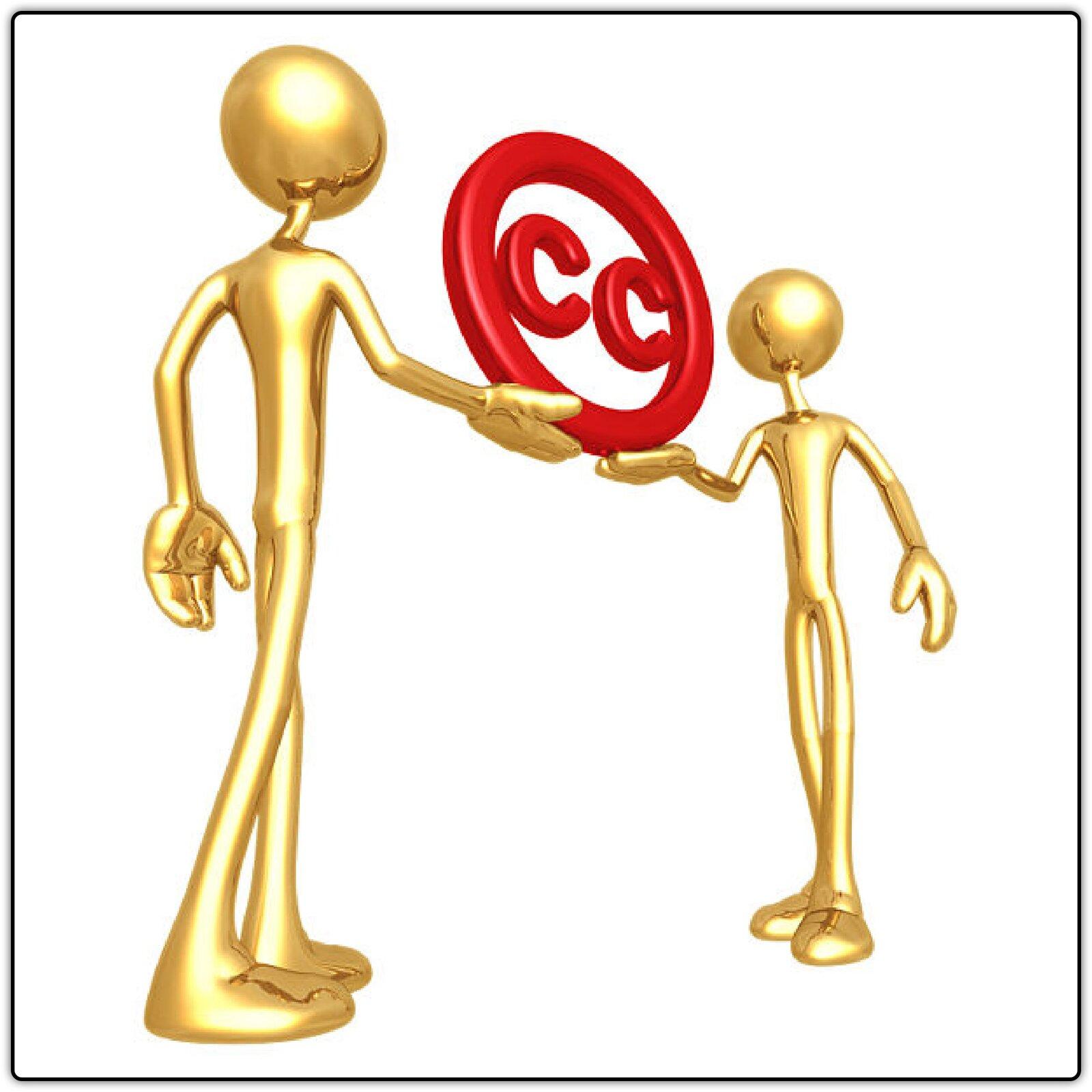 Ilustracja przedstawiająca symbol wolnych licencji trzymany przez dwie postaci