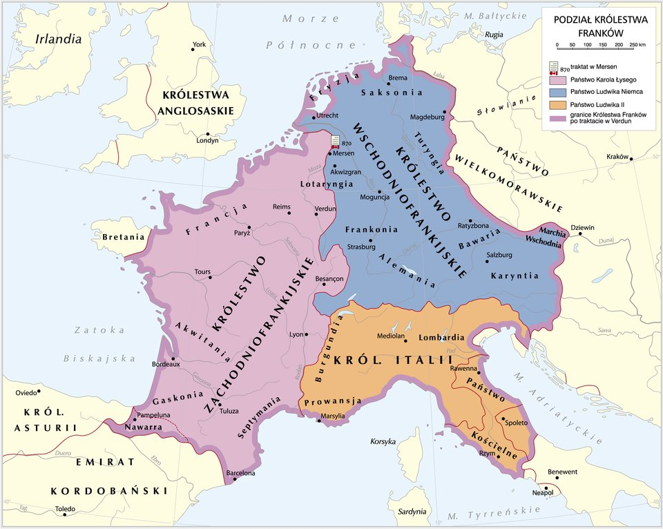 mapaPodział królestwa Franków