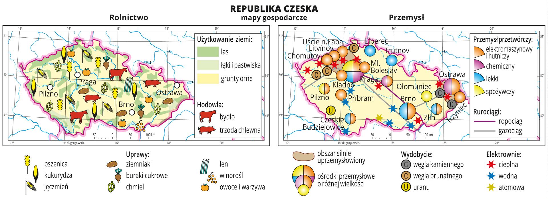 Ilustracja przedstawia dwie mapy gospodarcze Republiki Czeskiej. Mapa pierwsza – rolnictwo, mapa druga – przemysł. Na mapie rolnictwa tło wkolorze żółtym (grunty orne), jasnozielonym (łąki ipastwiska) izielonym (lasy). Na mapie sygnatury obrazujące uprawy roślin (pszenica, kukurydza, jęczmień, ziemniaki, buraki cukrowe, chmiel, len, winorośl, owoce iwarzywa) oraz hodowlę zwierząt (bydło, trzoda chlewna). Na mapie przemysłu sygnatury kołowe – ośrodki przemysłowe. Duże wPradze, Ostrawie, Brnie, kilkanaście mniejszych. Przemysł elektromaszynowy ihutniczy wprzewadze, chemiczny, lekki oraz spożywczy. Kilka elektrowni cieplnych iwodnych oznaczonych kolorowymi gwiazdkami, jedna elektrownia atomowa, ropociąg igazociąg oznaczone liniami. Sygnaturami oznaczone wydobycie węgla kamiennego, węgla brunatnego iuranu. Obie mapy zawierają południki irównoleżniki, dookoła map wbiałych ramkach opisano współrzędne.