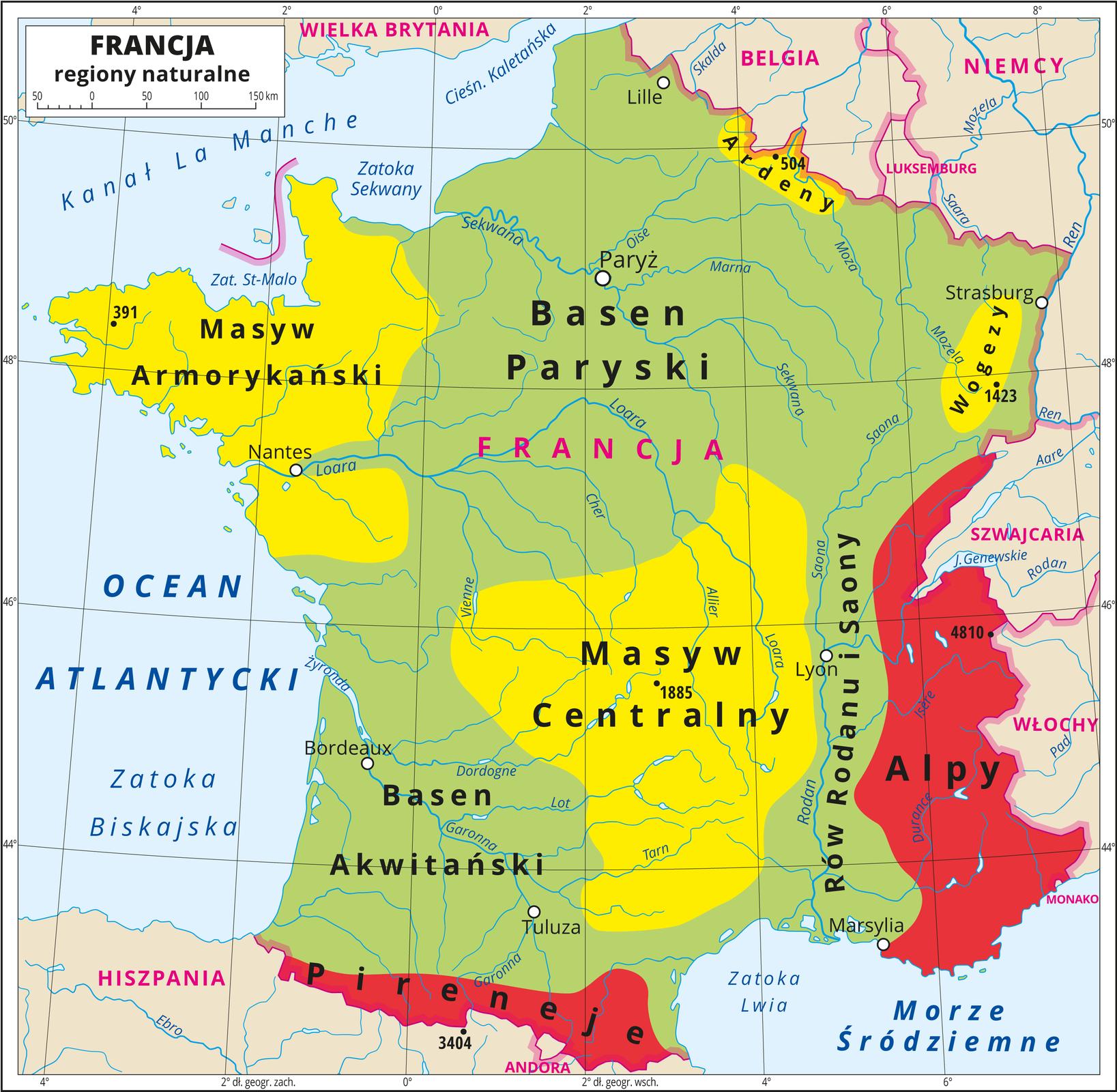Ilustracja przedstawia mapę regionów naturalnych we Francji. Kolorem zielonym oznaczono Basen Paryski iBasen Akwitański oraz Rów Rodanu iSaony, zajmujące największą powierzchnię kraju. Kolorem żółtym przedstawiono Masyw Centralny wcentrum Francji iMasyw Armorykański na zachodzie oraz Wogezy (północny-wschód) iArdeny (północ), akolorem czerwonym Alpy na wschodzie iPireneje na południu kraju. Na mapie poprowadzono południki irównoleżniki. Dookoła mapy wbiałej ramce opisano współrzędne geograficzne co dwa stopnie.
