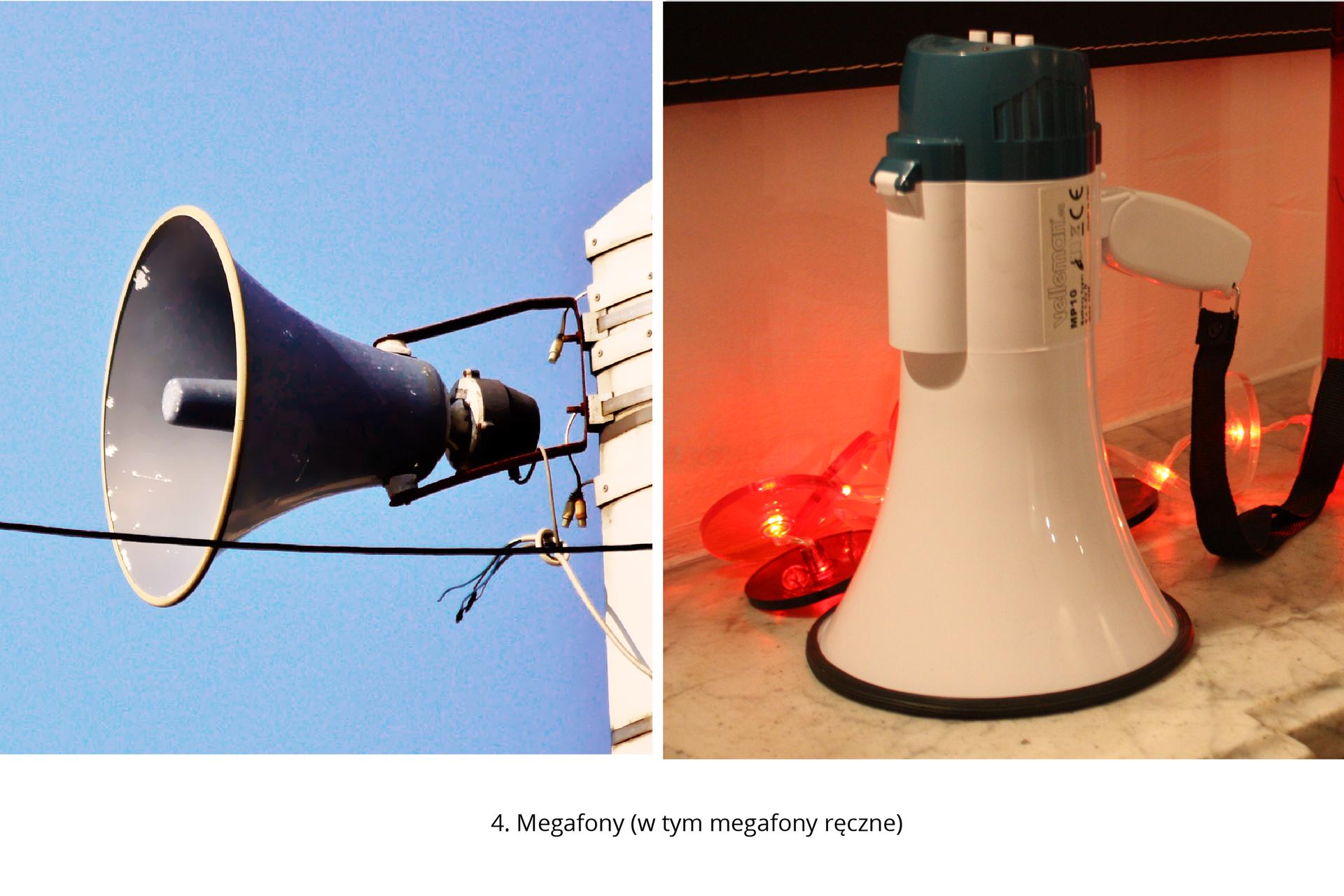 Galeria składająca się z8 zdjęć przedstawiających narzedzie masowego przekazu będące środkami alarmowymi: 1. Regionalne izakładowe rozgłośnie radiowe oraz stacje telewizyjne, 2. Syreny alarmowe (z sygnalizatorem świetlnym lub bez, elektryczne, sterowane ręcznie), 3. Dzwonki alarmowe (montowane np. wszkołach, hotelach iinnych budynkach użyteczności publicznej), 4. Megafony (w tym megafony ręczne), 5. Gongi (stosowane wmałych przedsiębiorstwach izakładach), 6. Buczki ibrzęczki (elektryczne, pneumatyczne, parowe) stosowane wpomieszczeniach, gdzie hałas uniemożliwia usłyszenie gongu, 7. Dzwony kościelne (stosowane zwyczajowo), 8. Sygnalizatory świetlne (stosowane wmiejscach, gdzie istnieje bardzo duże natężenie hałasu – są one również skierowane do ludzi zwadami słuchu)