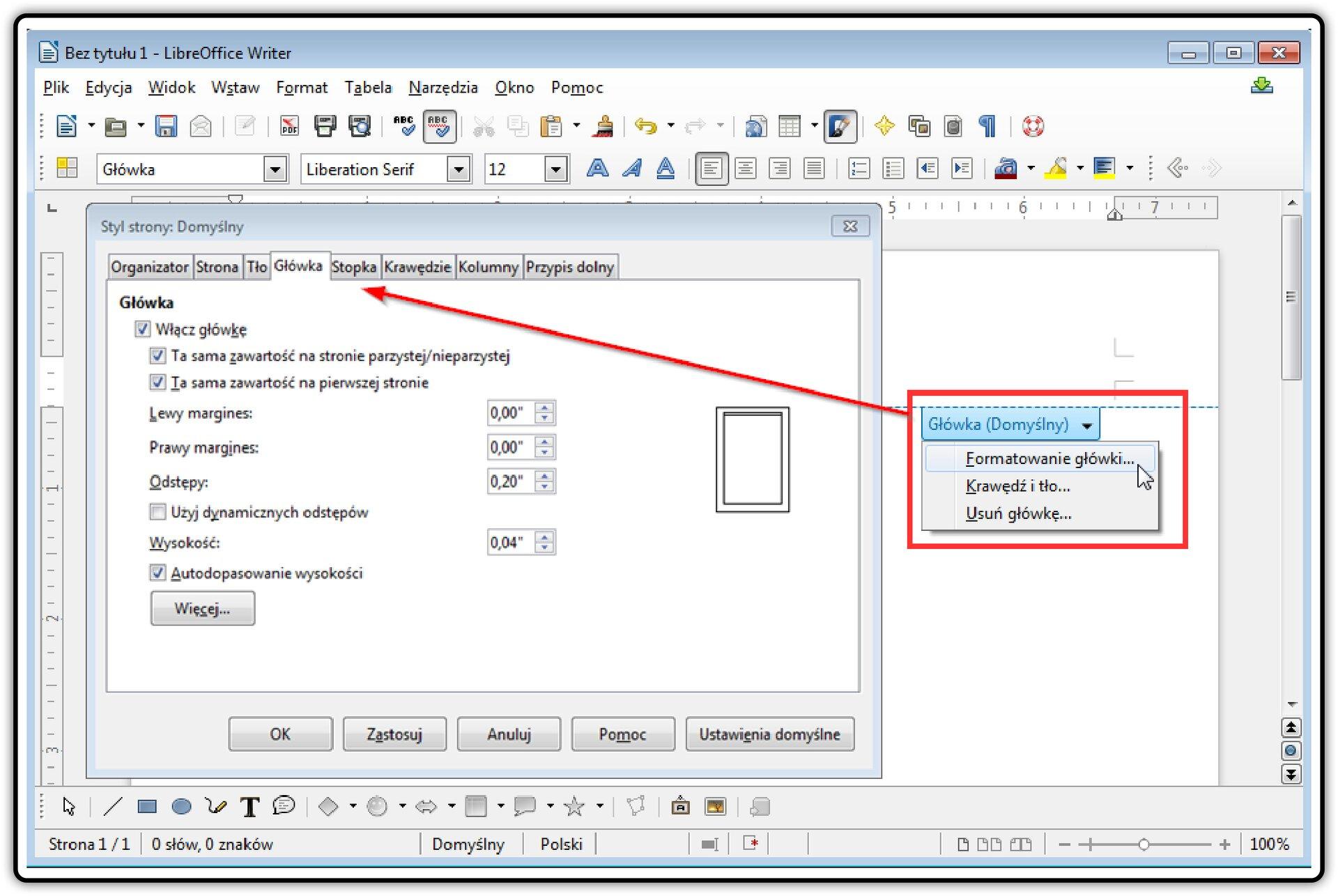 Zrzut okna programu LibreOffice Writer zotwartym oknem: Styl strony