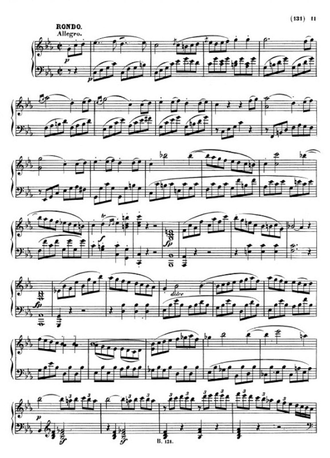 """Zdjęcie przedstawia graficzny utwór muzyczny. Fotografia ukazuje czarną pięciolinię znutami, na białej stronie utworu Ludwig van Beethoven – """"Sonata fortepianowa c-moll"""" opus 13 """"Patetyczna"""", część III."""