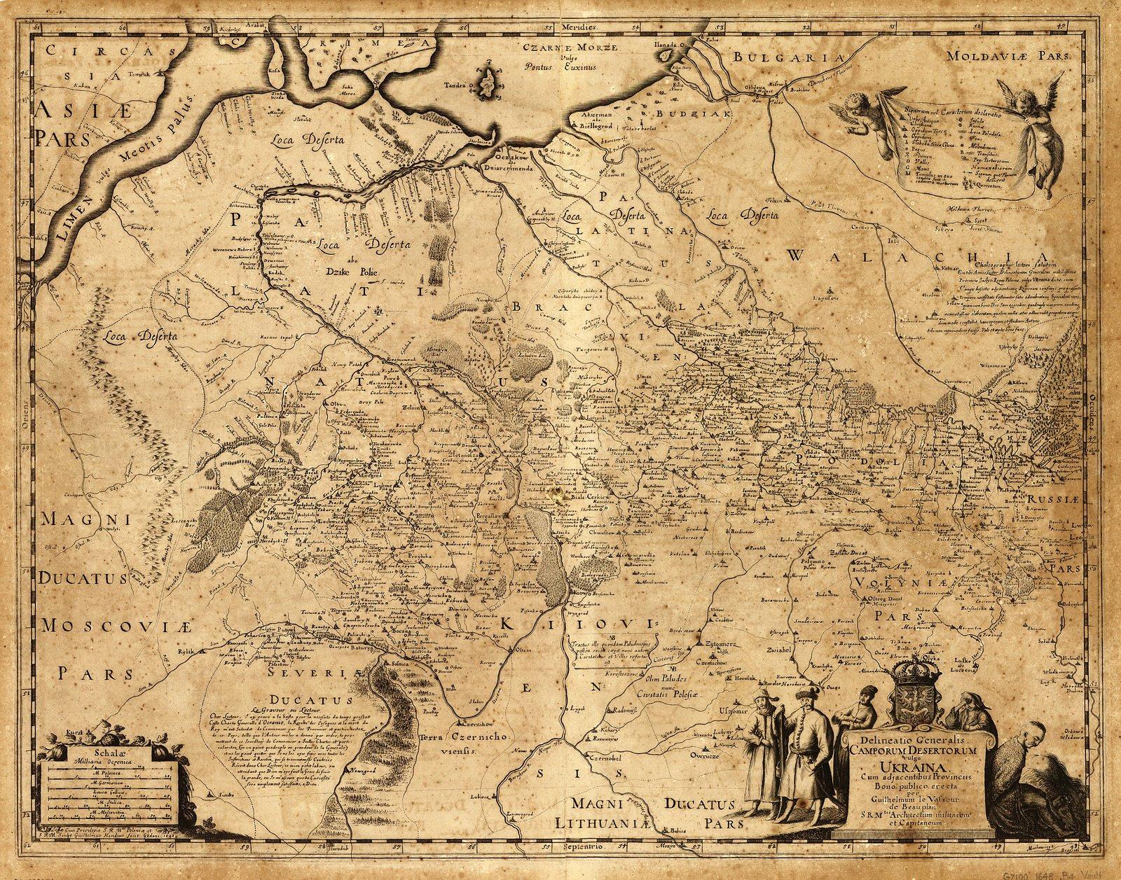 Mapa Dzikich Pól, inaczej Ukrainy, zprzyległymi prowincjami.Sporządzona dla dobra publicznego przez Wilhelma de Beauplana w1648 wGdańsku na polecenie Władysława IV, Króla Polski.Mapanie jest orientowana, tzn. północ nie znajduje się - tak jak jesteśmy przyzwyczajeni - ugóry karty. Tu ugóry są skrawki Morza Czarnego, ana dole karty tereny należące do Litwy.