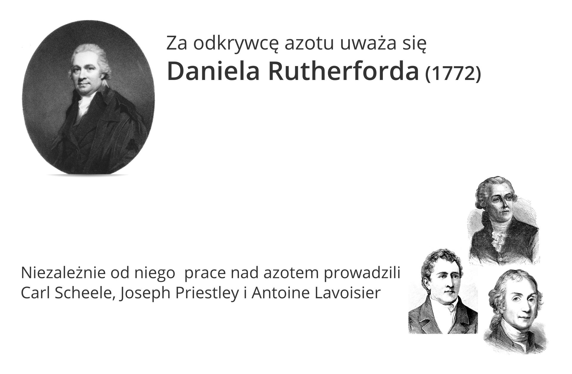 Ilustracja wlewym górnym narożniku zawiera czarnobiały portret Daniela Rutherforda, którego, jak głosi napis po prawej stronie, uznano ostatecznie za odkrywcę azotu. Dokonał on tego w1772 roku. Poniżej po prawej stronie znajdują się kolejne czarnobiałe, nieco mniejsze portrety trzech mężczyzn. Napis po lewej stronie tego kolażu głosi: Niezależnie prace nad azotem prowadzili Carl Scheele, Joseph Priestley iAntoine Lavoisier.
