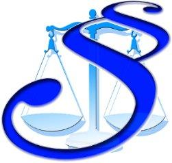 Symbol znaku paragrafu na tle symbolu wagi, kolorystyka niebieska