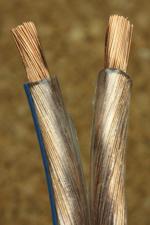 Zdjęcie przedstawia dwa przewody metalowe umieszczone wotulinie gumowej. Przewody umieszczone są równolegle pionowo do siebie. Przewody oddalają się od siebie wgórnej części. Końcówki przewodów są oddalone od siebie najbardziej na około kilka centymetrów. Przewody mają postać kilkudziesięciu drutów skręconych razem. Poszczególne przewody przylegają do siebie bardzo ściśle. Kolor przewodów jest metaliczny złocisto – brązowy. Jest to kolor miedziany. Przewody wykonane są zmiedzi. Cały skręcony przewód umieszczony jest wgumowej otulinie. Otulina jest przezroczysta. Przez przeźroczyste ścianki gumowej otuliny widać ściśle przylegające do siebie przewody. Na końcu przewodów otulina jest odcięta. Odcięty kawałek ma około dwa centymetry. Ponad odciętym miejscem widoczne są metalowe przewody ściśle przylegające do siebie