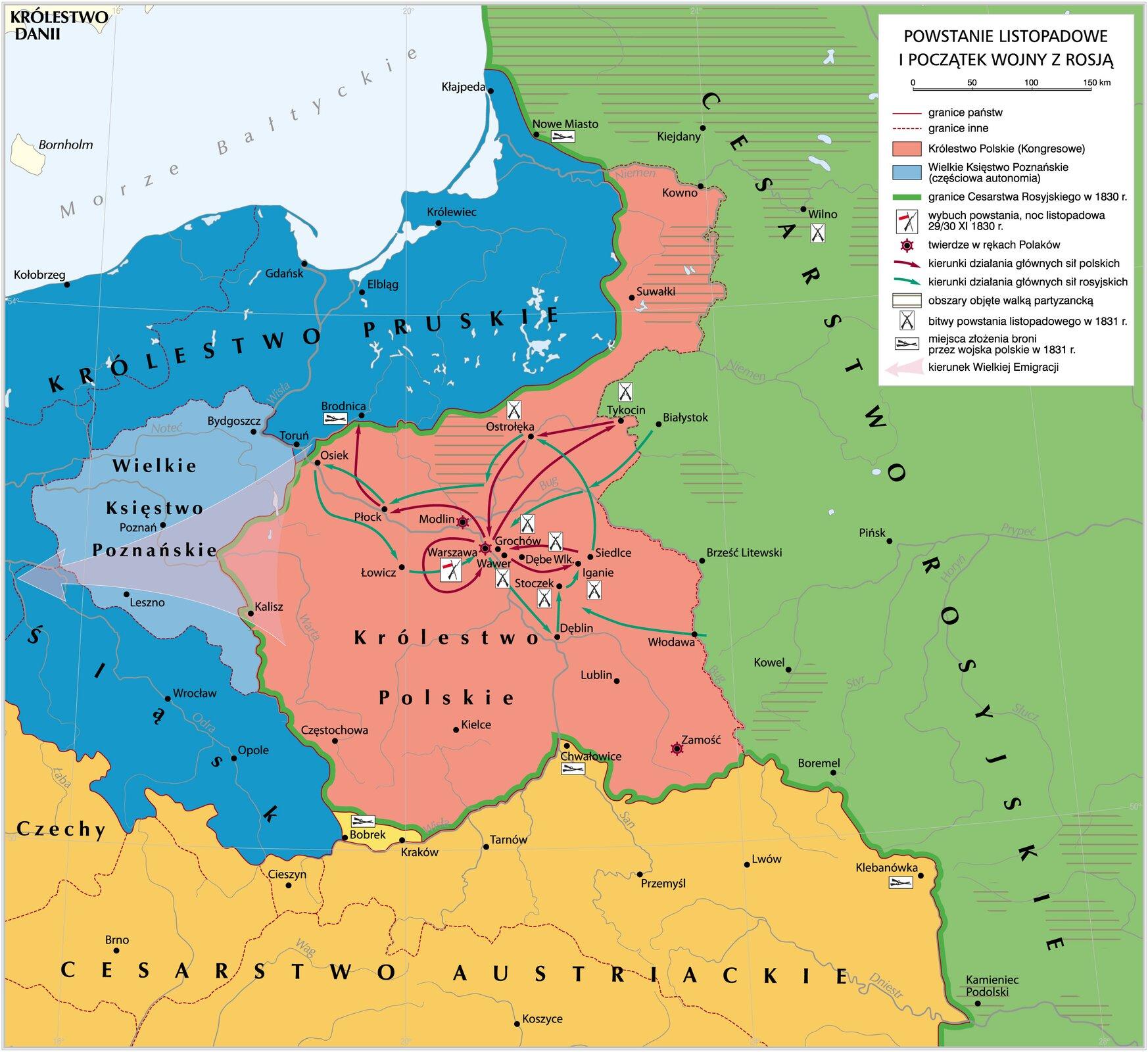 mapa -Powstanie listopadowe ipoczątek wojny zRosją