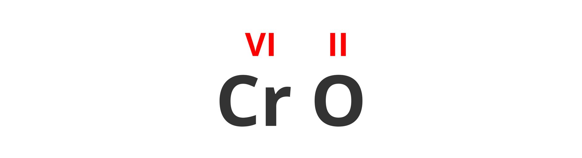 Na ilustracji widoczny jest zaczątek wzoru strukturalnego związku chromu itlenu. Nad symbolami pierwiastków czerwonym kolorem irzymskimi cyframi wyróżniono wartościowość obydwu pierwiastków. Dla chromu jest to sześć, adla tlenu dwa.