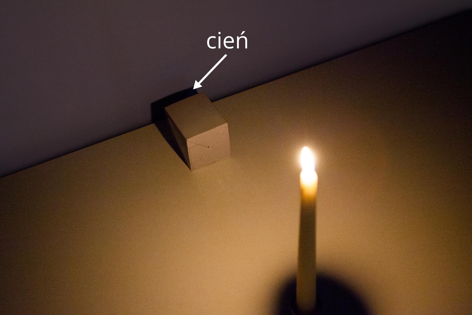 Dwie fotografie: na pierwszej przedmiot oświetlony przez pojedynczą świeczkę.
