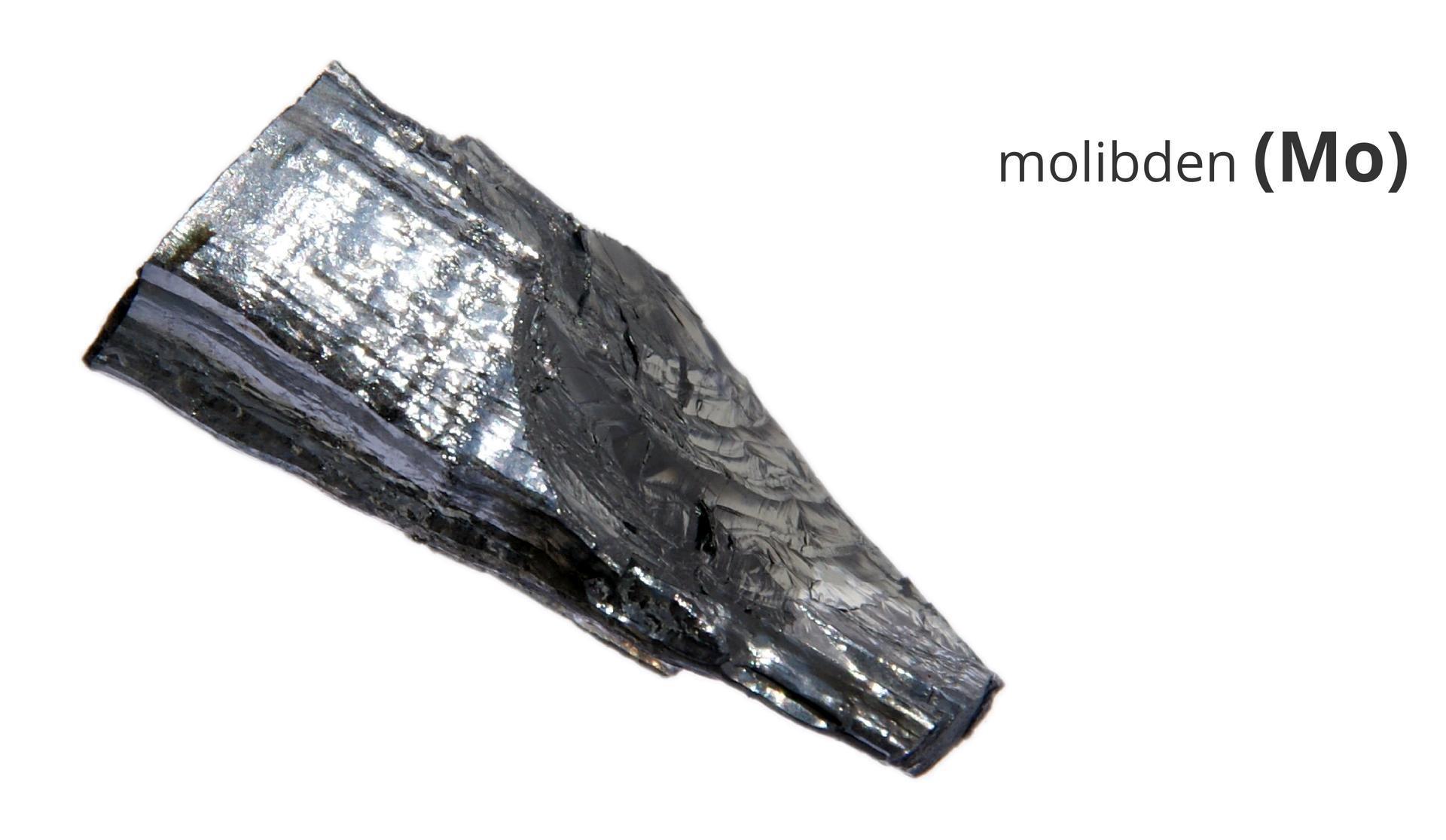 Zdjęcie przedstawia kawałek metalicznego molibdenu. Obok widnieje napis molibden ijego symbol Mo.