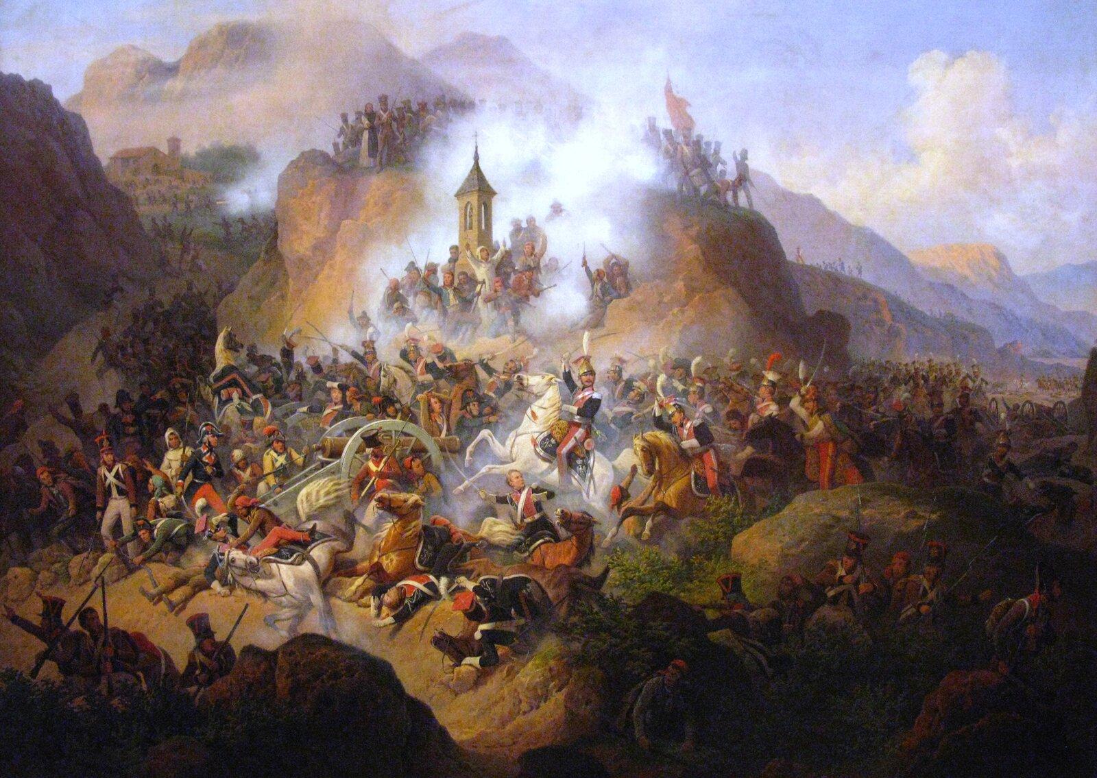 Bitwa pod Somosierrą Źródło: January Suchodolski, Bitwa pod Somosierrą, 1860, olej na płótnie, Muzeum Narodowe wWarszawie, domena publiczna.