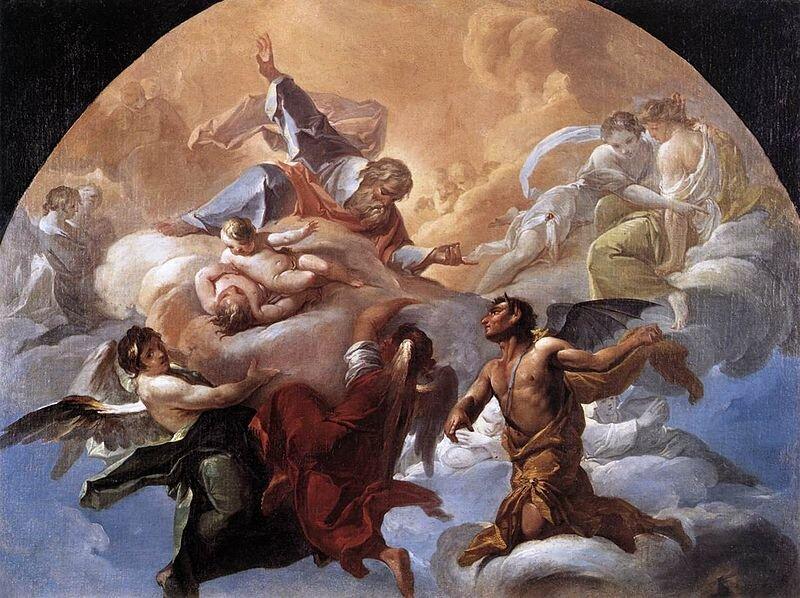 Szatan przed Bogiem Źródło: Corrado Giaquinto, Szatan przed Bogiem, ok. 1750, olej na płótnie, Muzeum Watykańskie, domena publiczna.