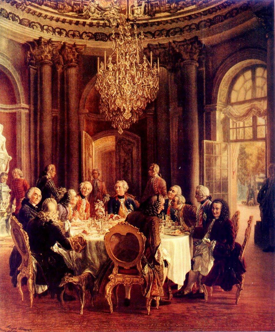 Spotkanie przy stole Spotkanie przy stole -obraz niemieckiego malarza zXIX w.Adolpha Menzla zok. 1850 r. przedstawiający scenę zpobytu Woltera uFryderyka II wSansouci wPoczdamie. Źródło: Adolph Menzel, Spotkanie przy stole, 1850, olej na płótnie, domena publiczna.