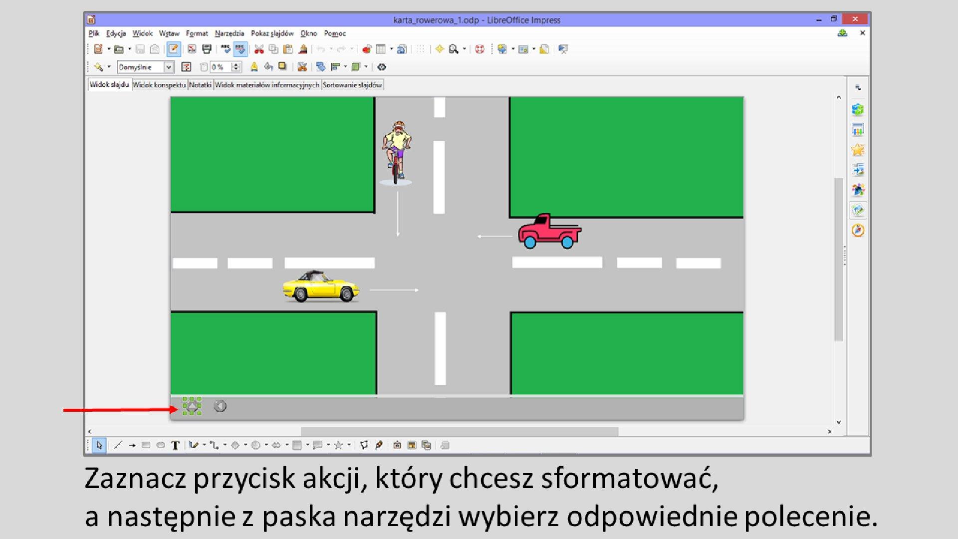 Slajd 1 galerii: Formatowanie przycisków akcji wprogramie LibreOffice Impress