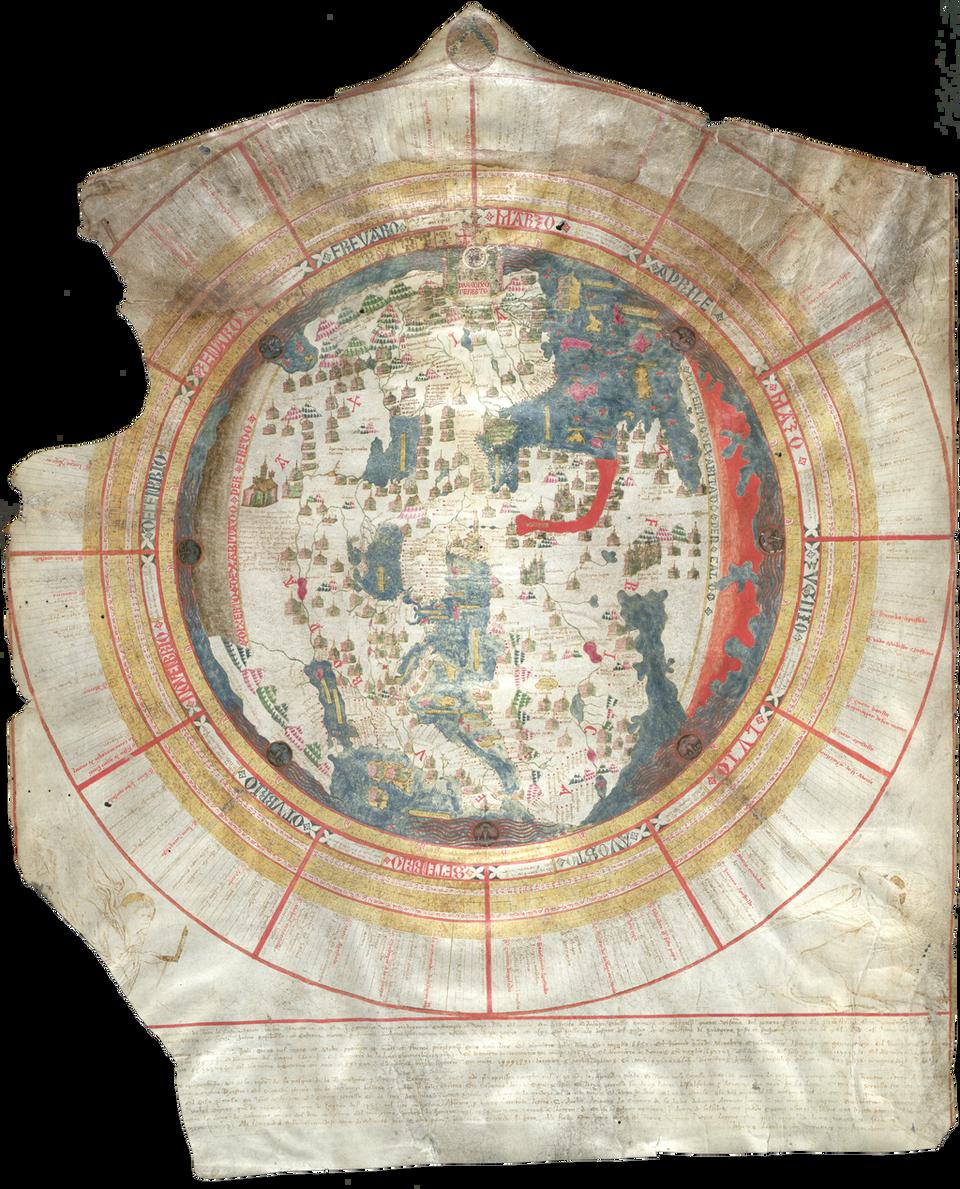 Mapa świata, którą stworzył między 1442 a1453 rokiem Giovanni Leardo pochodzący zWenecji. Mapa świata, którą stworzył między 1442 a1453 rokiem Giovanni Leardo pochodzący zWenecji. Źródło: domena publiczna.