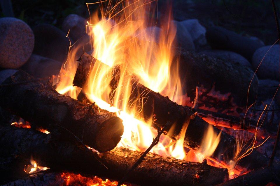 Zdjęcie pokazuje ognisko zpalącymi się jasnym płomieniem polanami drewna.