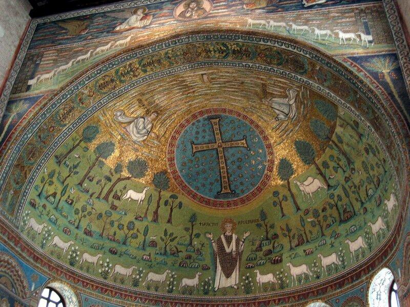Przedstawienie rajskiego ogrodu Źródło: 533-549, Mozaika, Basilica of Sant' Apollinare, licencja: CC BY 2.0.