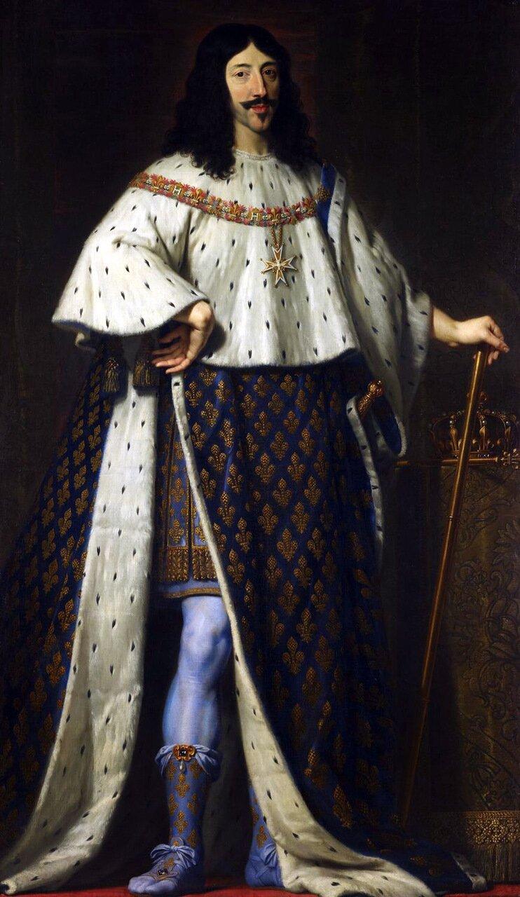 Ludwik XIII wstroju koronacyjnym Portretkróla Ludwika XIII wstroju koronacyjnym. Obraz namalowany przez Philippe de Champaigne (1602-1674). Źródło: Philippe de Champaigne, Ludwik XIII wstroju koronacyjnym, 1630-1639, Kolekcja królewska, domena publiczna.