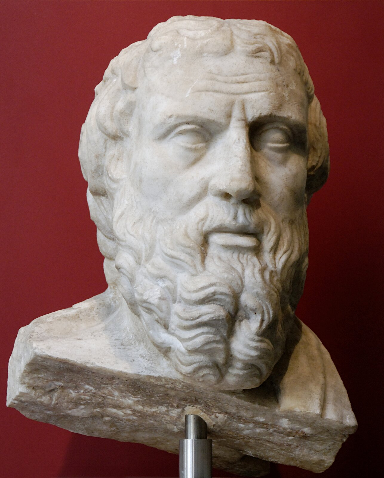 Popiersie Herodota, historyka greckiego (ok. 484 p.n.e–426 p.n.e.). Popiersie Herodota, historyka greckiego (ok. 484 p.n.e–426 p.n.e.). Źródło: rzeźba, Porta Metronia, Rzym, domena publiczna.