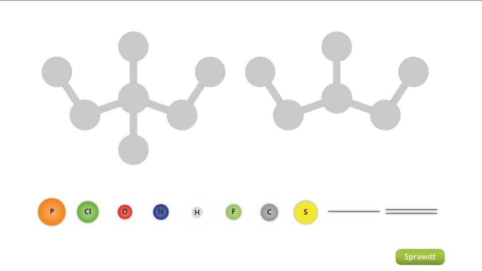 Aplikacja interaktywna wformie układanki. Wgórnej części okna znajdują się ogólne schematy dwóch cząsteczek bez podpisów. Możliwe jest wyróżnienie liczby atomów itego, które są zczym powiązane, ale nie widać ani samych atomów, ani tego, jaki charakter mają wiązania między nimi. Miejsca przeznaczone na symbole atomów oraz wiązania są szare. Poniżej wjednej linii znajdują się kule oróżnych barwach irozmiarach zoznaczeniami różnych pierwiastków. Kolejno, licząc od lewej są to: P, Cl, O, N, H, F, Coraz S. Dalej są kreski symbolizujące wiązania, pojedyncze ipodwójne. Zadaniem użytkownika jest uzupełnienie wzorów właściwymi elementami poprzez przeciągnięcie kul ikresek wprzeznaczone dla nich miejsce. Weryfikacji ustawień dokonuje się naciskając przycisk Sprawdź wprawym dolnym rogu okna. Zopisu zadania wiadomo, że obie cząsteczki mają przedstawiać dwa różne kwasy siarkowe.