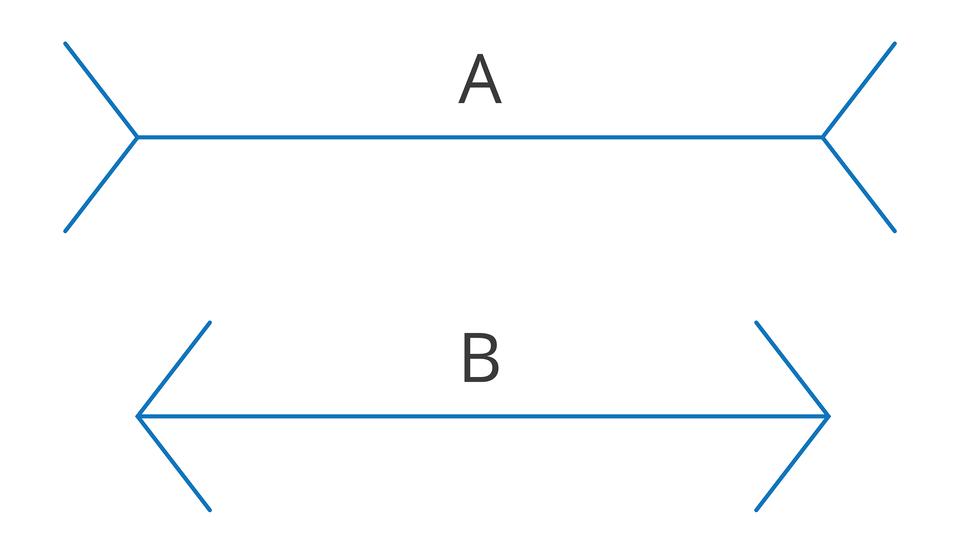 Wgalerii znajdują się przykłady obrazów, wprowadzających mózg wbłąd. Ilustracja przedstawia dwa niebieskie odcinki. Górny ma końce rozwidlone na zewnątrz, dolny końce jak strzałka. Czy są równej długości?
