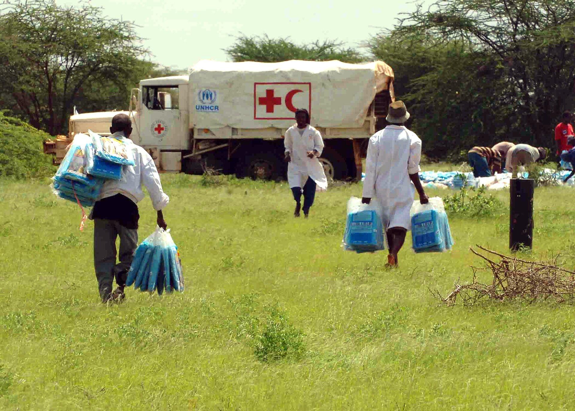 Pomoc dla uchodźców wobozie wDadaab, wKenii Źródło: Pomoc dla uchodźców wobozie wDadaab, wKenii, domena publiczna.