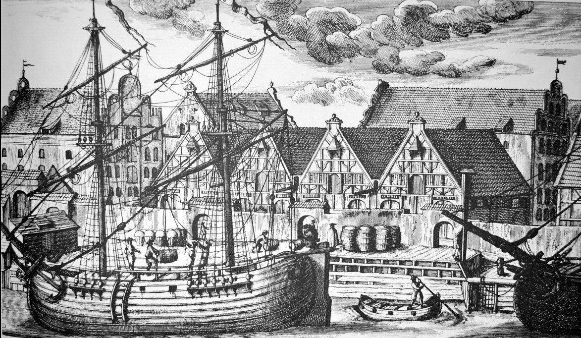 Wyspa Spichrzów wGdańsku Gdańskie spichrze – jeden zpierwszych symboli nowoczesnejinfrastruktury portowej Źródło: Matthäus Deisch, Wyspa Spichrzów wGdańsku, 1765, domena publiczna.