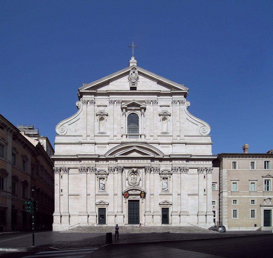 Fasada główna rzymskiegokościoła jezuitów Il Gesu Fasada główna rzymskiegokościoła jezuitów Il Gesu Źródło: Alessio Damato, Wikimedia Commons, licencja: CC BY-SA 3.0.