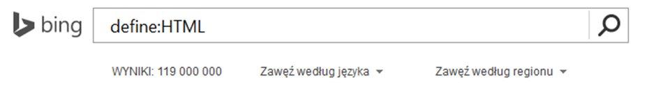 Zrzut paska wyszukiwarki Bing zwpisanym tekstem oraz Define