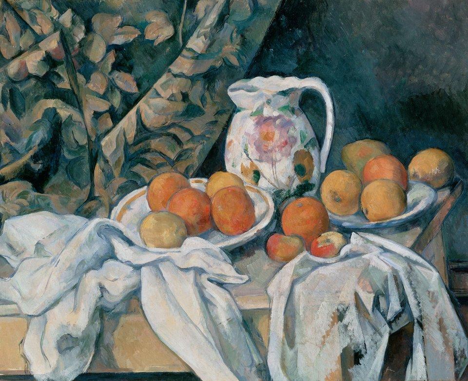Martwa natura zzasłoną Źródło: Paul Cézanne, Martwa natura zzasłoną, ok. 1898, olej na płótnie, domena publiczna.
