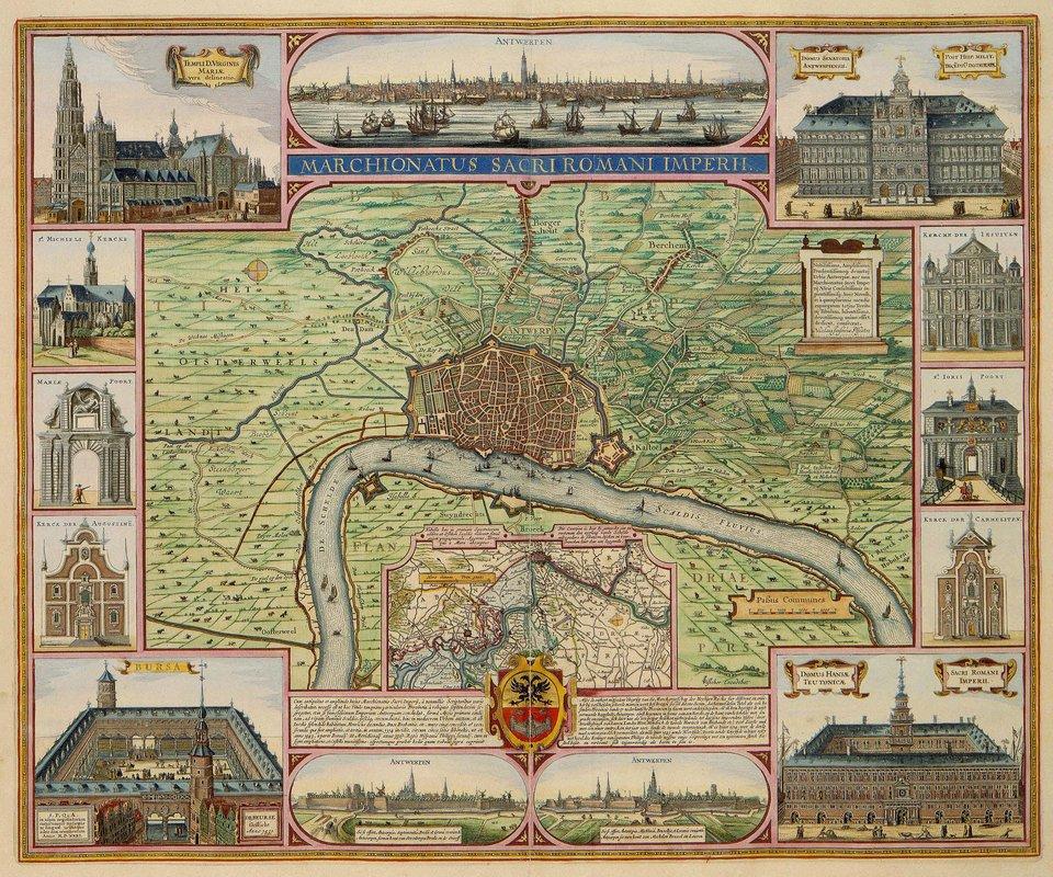 Plan Antwerpii wXVI w. Wdolnym lewym narożniku giełda wAntwerpii. Powstała w1531 jako pierwsza tego typu instytucja wświecie. Plan Antwerpii wXVI w. Wdolnym lewym narożniku giełda wAntwerpii. Powstała w1531 jako pierwsza tego typu instytucja wświecie. Źródło: Claes Janszoon Visscher, 1624, domena publiczna.