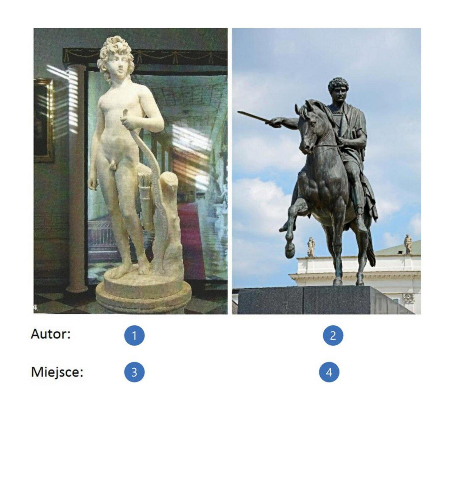 Pierwsza ilustracja przedstawia rzeźbę Henryka Lubomirskiego. Mężczyzna przedstawiony jest jako amor. Nagi chłopiec ma bujną fryzurę. Dłoń trzyma na łuku, który oparty jest oskałę. Obok znajdują się także strzały. Rzeźba znajduje się wpomieszczeniu, na co wskazuje tło - fragment obrazu na ścianie, wejście do pomieszczenia, za którym widoczny jest długi, czerwony dywan oraz inne stojące rzeźby. Druga ilustracja przedstawia pomnik księcia Józefa Poniatowskiego. Na fotografii widzimy mężczyznę wrzymskim ubraniu. Poniatowski ma kręcone włosy oraz poważny wyraz twarzy. Mężczyzna siedzi na koniu. Jedną ręką trzyma uprząż. Natomiast drugą rękę ma wyciągniętą do przodu itrzyma wniej miecz. Posąg jest wodcieniach szarości iznajduje się na podeście. Wtle widoczny jest fragment budynku.