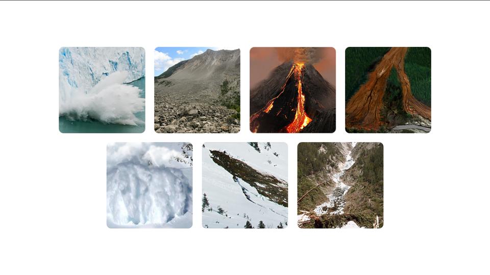 Aplikacja przedstawia 7 rodzajów lawin. 7 kolorowych zdjęć ułożonych w2 poziomych rzędach. Od lewej, zdjęcie 1, to lawina spowodowana odrywaniem się kawałka lodowca. Zdjęcie 2 to lawina kamieni. Zdjęcie 3 przedstawia wysoki wulkan. Czerwona lawa ścieka wzdłuż zbocza wulkanu. Zdjęcie 4 to lawina błotna. Ze szczytu góry porośniętej zielonym lasem zeszła lawina błotna. Dwa brązowe pasy błota ciągną się od szczytu góry aż po podnóże góry. Zdjęcie 5 to lawina śnieżna wwysokich górach. Zdjęcie 6 to lawina wgórach. Zdjęcie 7 to przykład lawiny spływającej korytem górskiej rzeki. Po obu stronach wysokie strome skaliste zbocza.