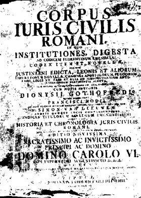 Kodeks Justyniana, Strona tytułowa wydania z1583 Źródło: Yakoo, Kodeks Justyniana, Strona tytułowa wydania z1583, licencja: CC 0.